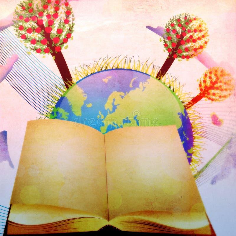 Boek en planeet stock illustratie
