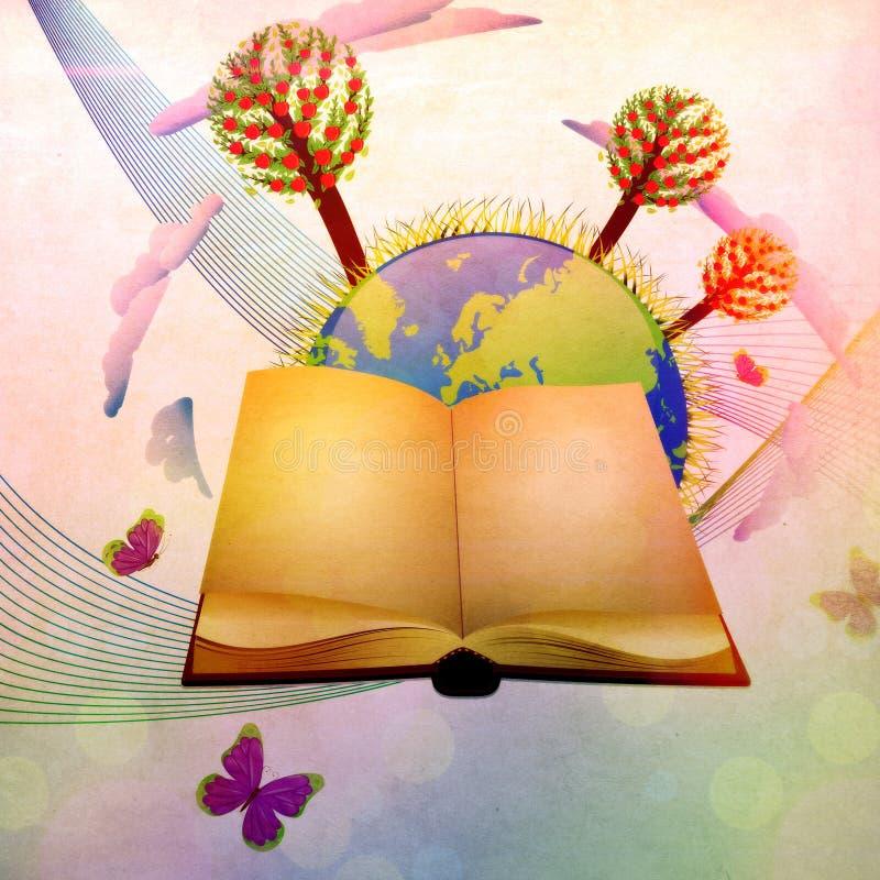 Boek en planeet vector illustratie