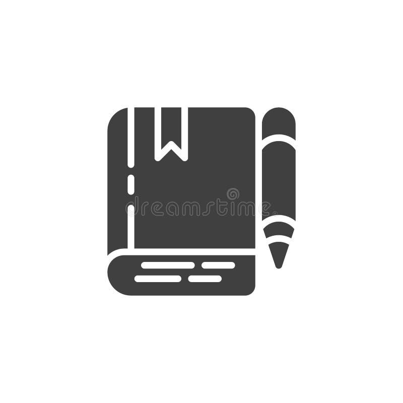 Boek en potlood vectorpictogram royalty-vrije illustratie
