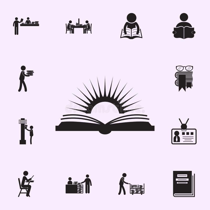 boek en zonpictogram Voor Web wordt geplaatst dat en het mobiele algemene begrip van bibliotheekpictogrammen vector illustratie