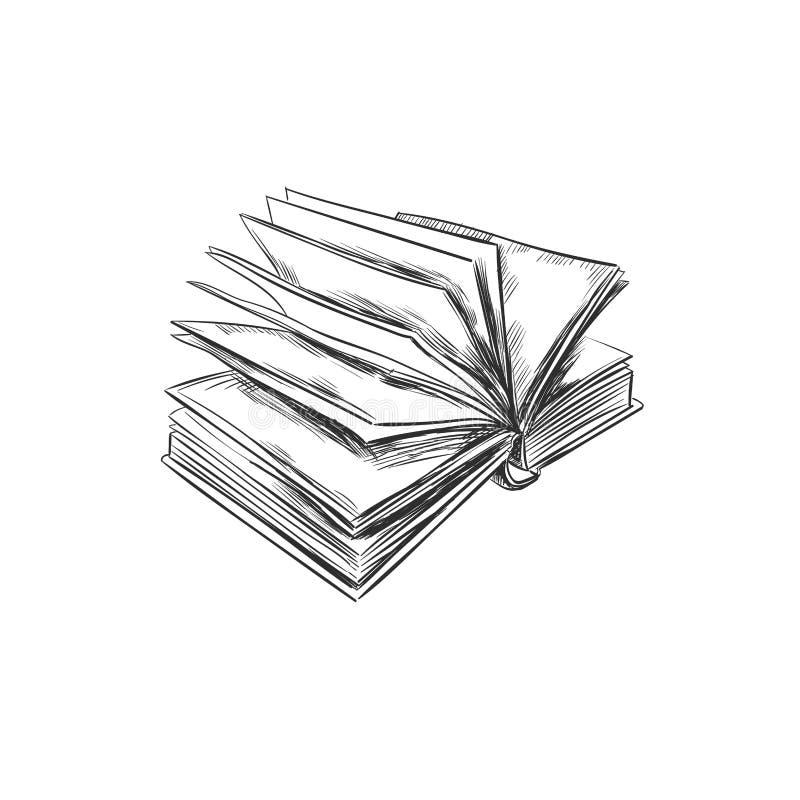 Boek Hand getrokken illustratie De stijl van de schets pictogram retro wijnoogst Kan als embleem voor boekhandel of winkel, bibli vector illustratie