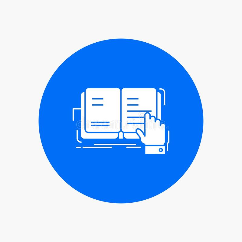 boek, les die, studie, literatuur, Wit Glyph-Pictogram in Cirkel lezen Vectorknoopillustratie vector illustratie