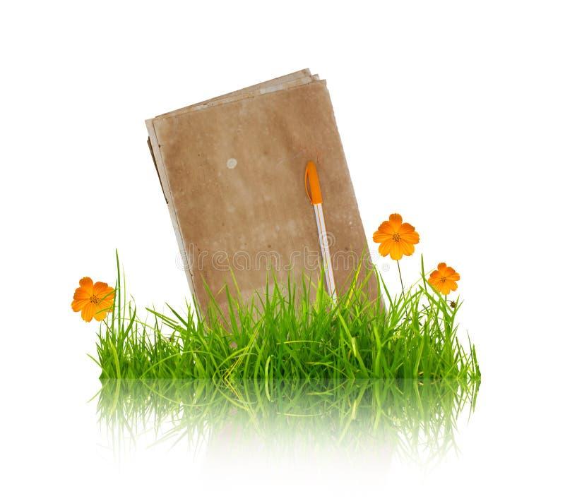 Boek met bloem en gras royalty-vrije stock afbeeldingen