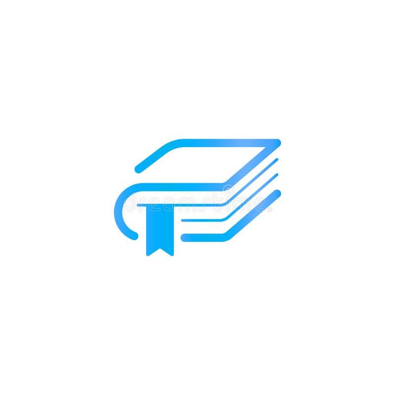 Boek met een referentie, het malplaatje van het onderwijsembleem Bibliotheek of uitgever logotype Abstract silhouet in lineaire s vector illustratie