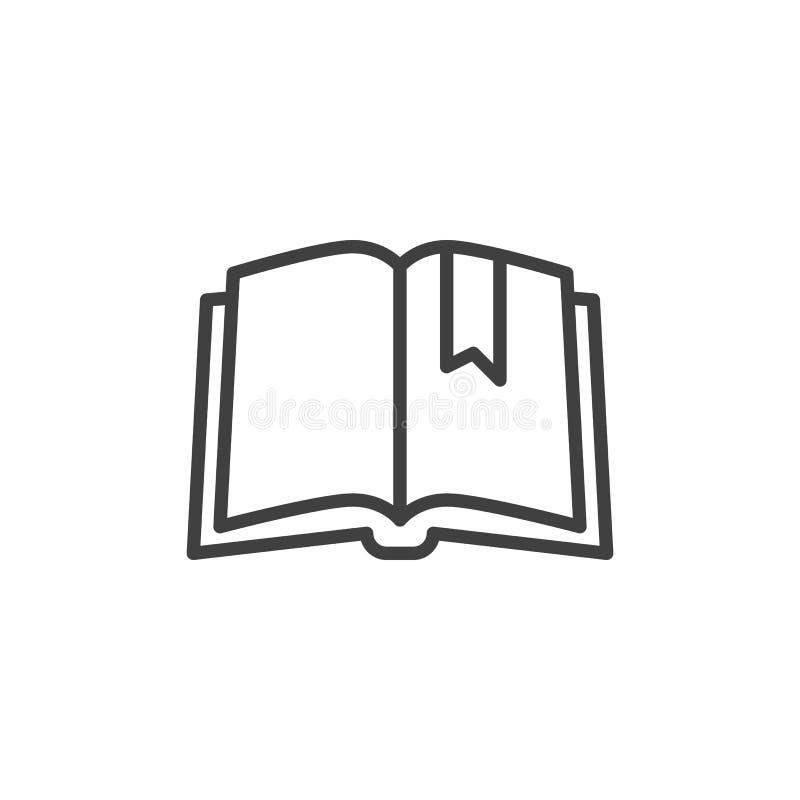 Boek met het pictogram van de referentielijn vector illustratie