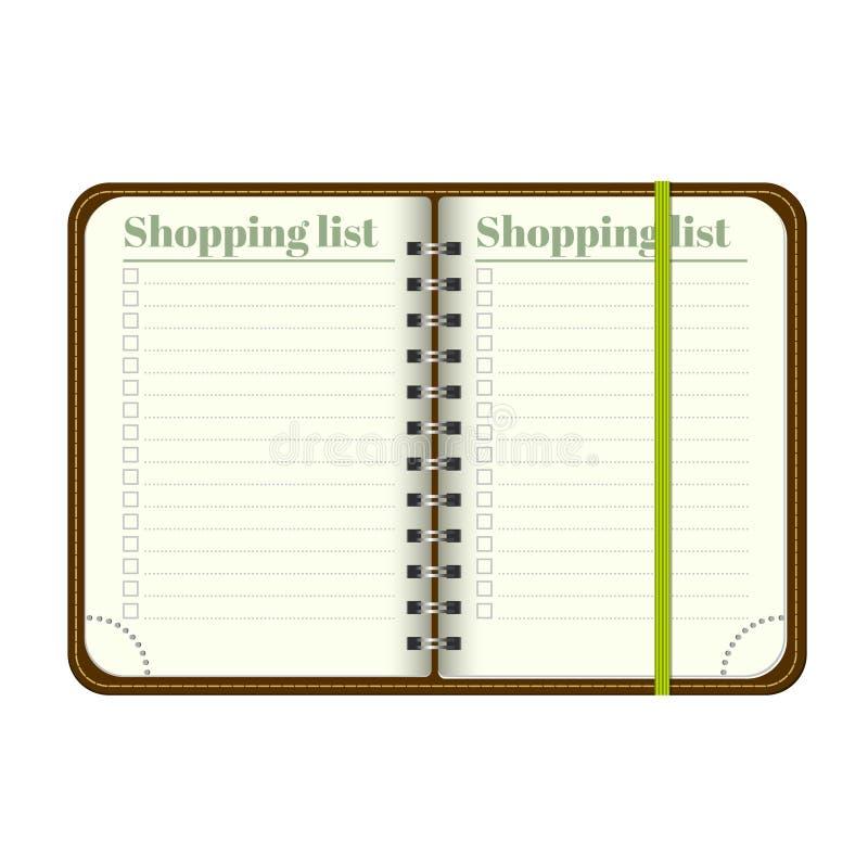Boek met lege het Winkelen lijst Lege ruimte voor uw tekst Vector persoonlijke organiger met referentie Op witte achtergrond M vector illustratie