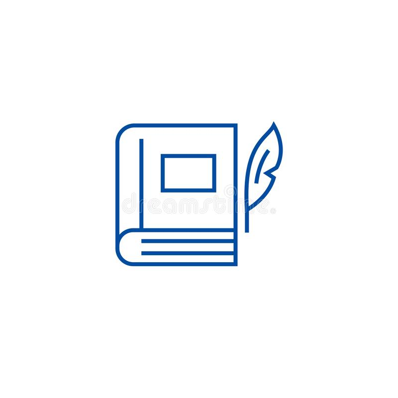 Boek met pen, het pictogramconcept van de literatuurlijn Boek met pen, literatuur vlak vectorsymbool, teken, overzichtsillustrati stock illustratie