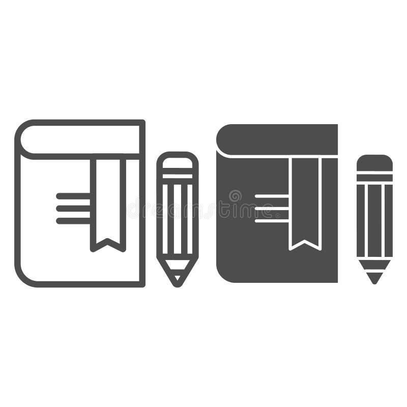 Boek met potloodlijn en glyph pictogram Referentie vectordieillustratie op wit wordt ge?soleerd De stijlontwerp van het kennisove royalty-vrije illustratie