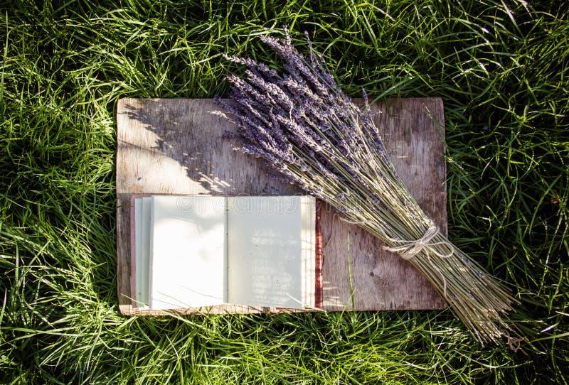 Boek met schone pagina's en lavendel op achtergrond van groen gras royalty-vrije stock afbeeldingen