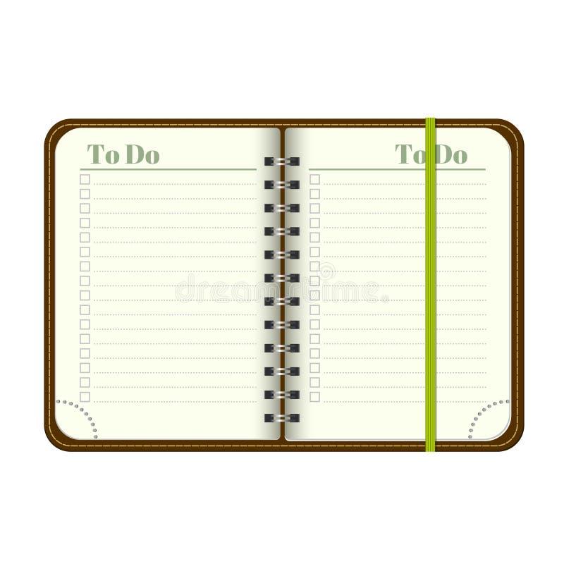 Boek met spatie om lijst Lege ruimte voor uw tekst te doen Vector persoonlijke organiger met referentie Op witte achtergrond spot royalty-vrije illustratie