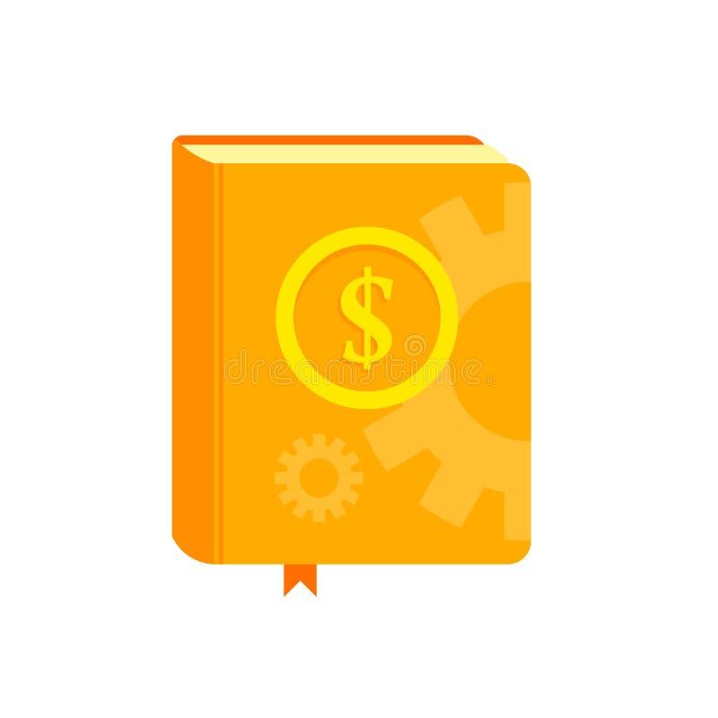 Boek met symbool van geld op de dekking Bestseller hoe te om concept te verdienen Vlakke illustratie stock illustratie