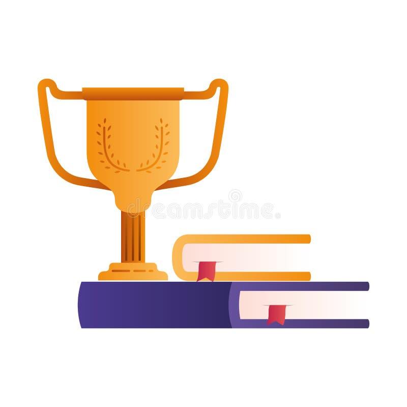 Boek met trofee ge?soleerd pictogram stock illustratie