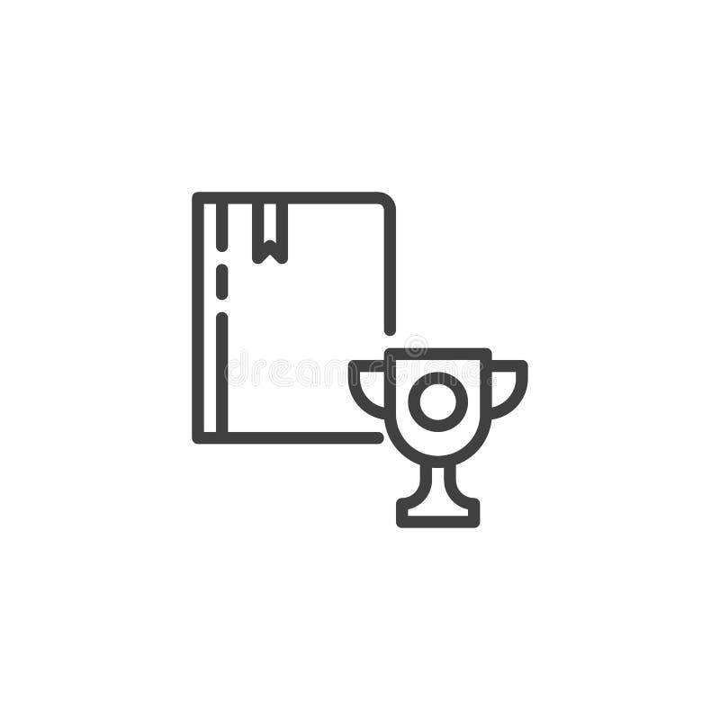 Boek met trofee of het winnende pictogram van de koplijn stock illustratie