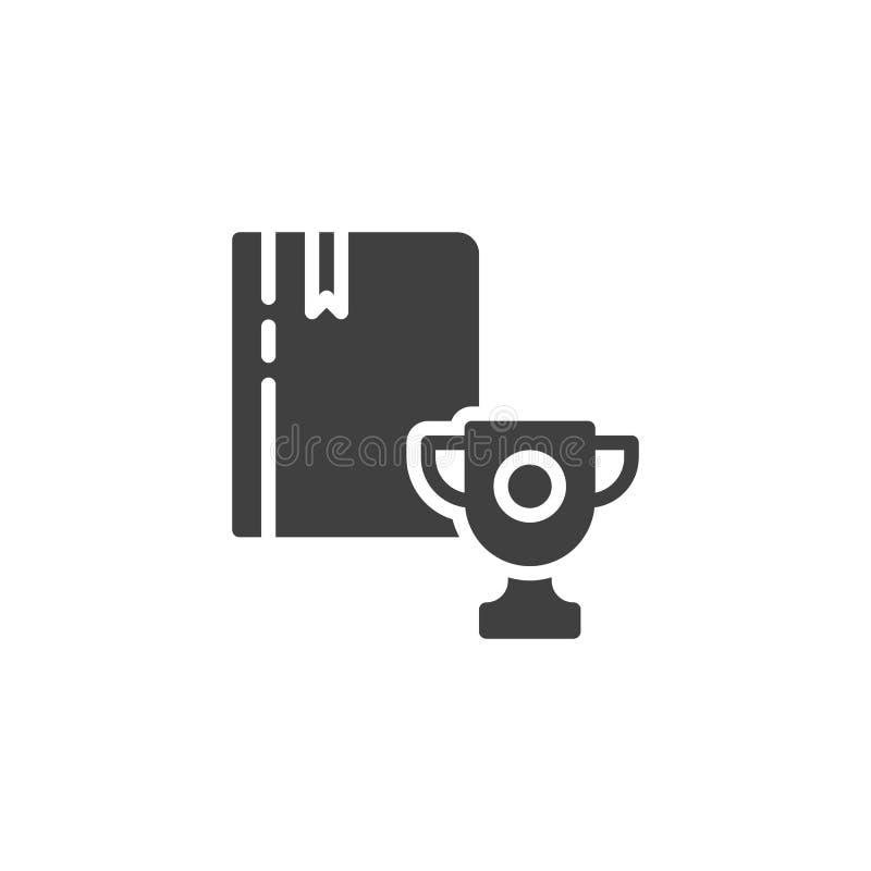 Boek met trofee of winnend kop vectorpictogram vector illustratie