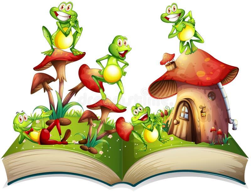 Boek met vele kikkers het glimlachen royalty-vrije illustratie