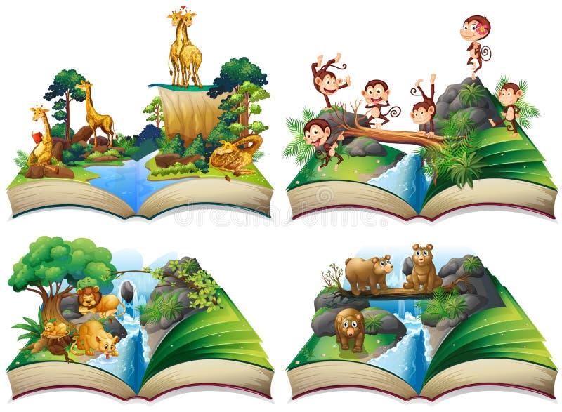 Boek met wilde dieren in de wildernis stock illustratie