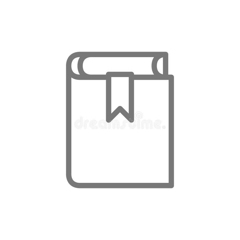 Boek, misdadige administratieve code, het pictogram van de grondwetslijn stock illustratie