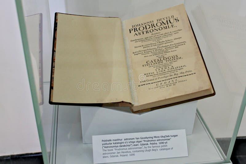 Boek in museum - Ulugh bedelt Waarnemingscentrum in Samarkand stock fotografie