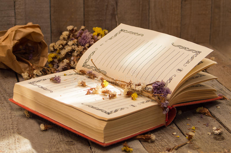 Boek om nota's met droge bloemen te schrijven royalty-vrije stock fotografie