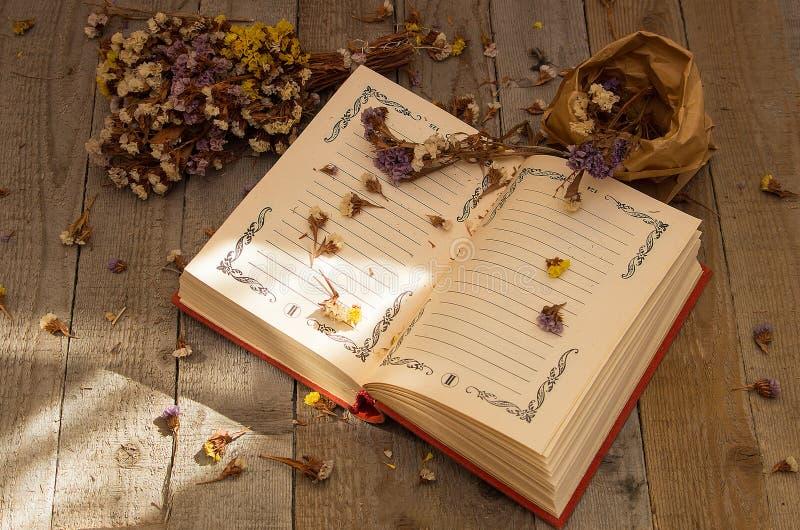Boek om nota's met droge bloemen te schrijven royalty-vrije stock afbeeldingen