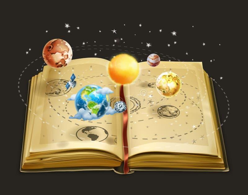 Boek op astronomiepictogram royalty-vrije illustratie