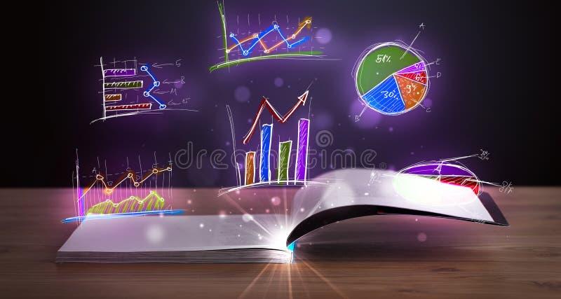 Boek op houten dek met gloeiende grafiekillustraties vector illustratie