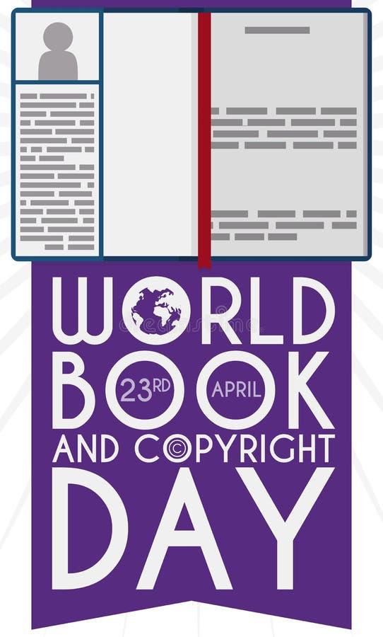 Boek Open bij Intro-Pagina om de Dag van het Wereldboek, Vectorillustratie te herdenken vector illustratie