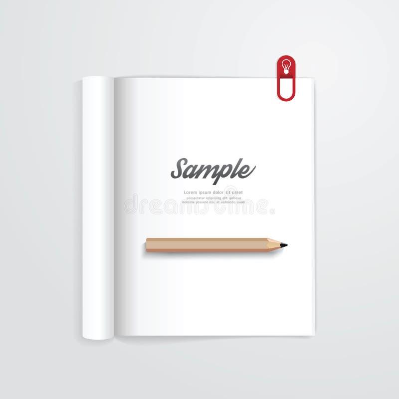 Boek open met malplaatje van het potlood het vectortijdschrift stock illustratie