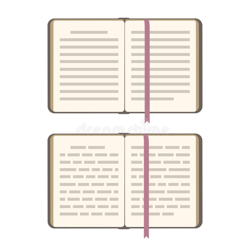 Boek open pagina's met referentie Vector vlakke die illustratie op wit wordt geïsoleerd Hoogste mening, abstracte tekstlijn Kenni vector illustratie