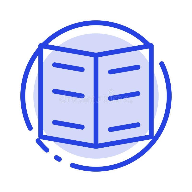 Boek, Referentie, de Lijnpictogram van de Onderwijs Blauw Gestippelde Lijn vector illustratie