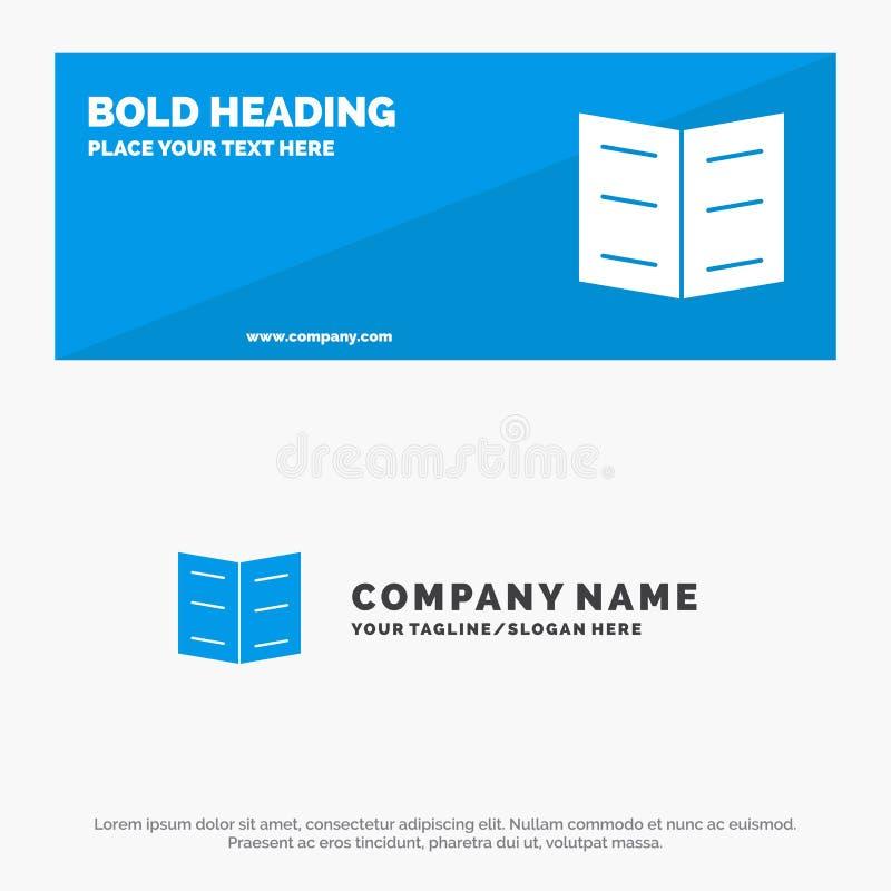 Boek, Referentie, de Websitebanner en Zaken Logo Template van het Onderwijs Stevige Pictogram royalty-vrije illustratie