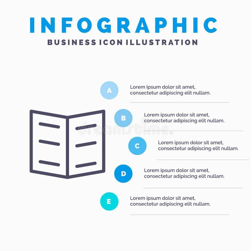 Boek, Referentie, het pictogram van de Onderwijslijn met infographicsachtergrond van de 5 stappenpresentatie stock illustratie