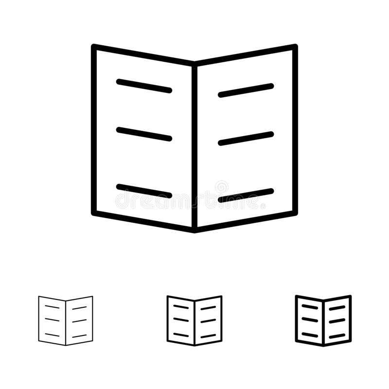 Boek, Referentie, het pictogramreeks van de Onderwijs Gewaagde en dunne zwarte lijn royalty-vrije illustratie