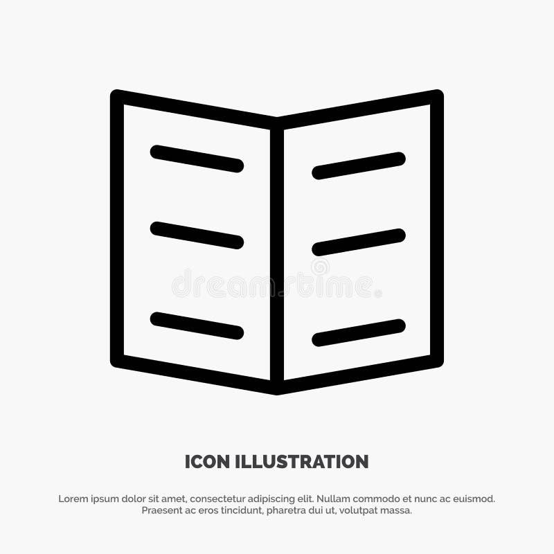 Boek, Referentie, het Pictogramvector van de Onderwijslijn royalty-vrije illustratie