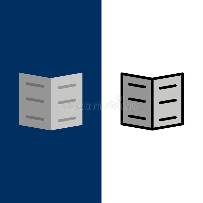 Boek, Referentie, Onderwijspictogrammen Vlak en Lijn vulde Pictogram Vastgestelde Vector Blauwe Achtergrond stock illustratie