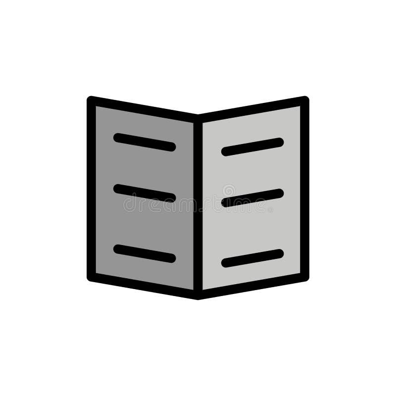 Boek, Referentie, Pictogram van de Onderwijs het Vlakke Kleur Het vectormalplaatje van de pictogrambanner vector illustratie