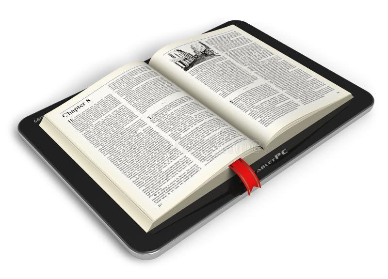 Boek in tabletcomputer vector illustratie