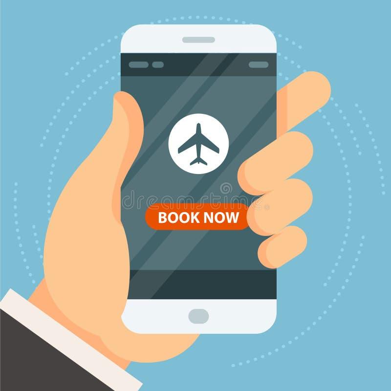 Boek uw vlucht - kaartje het boeken en koop, online reserve stock illustratie
