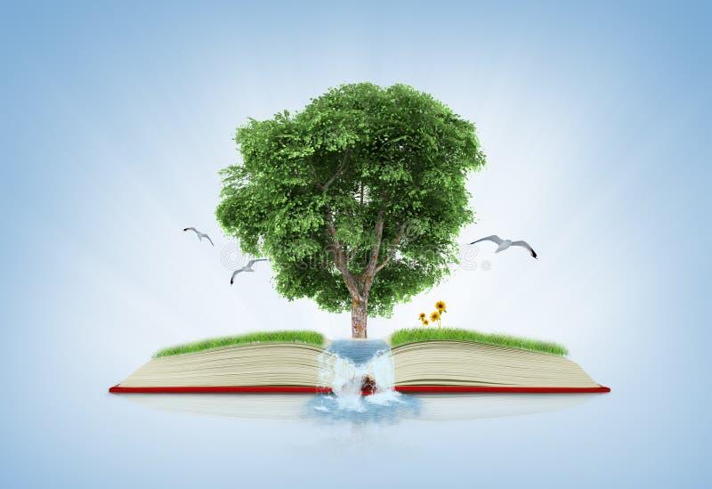 Boek van aard met gras en boom de groei op het over wit blauw stock foto's