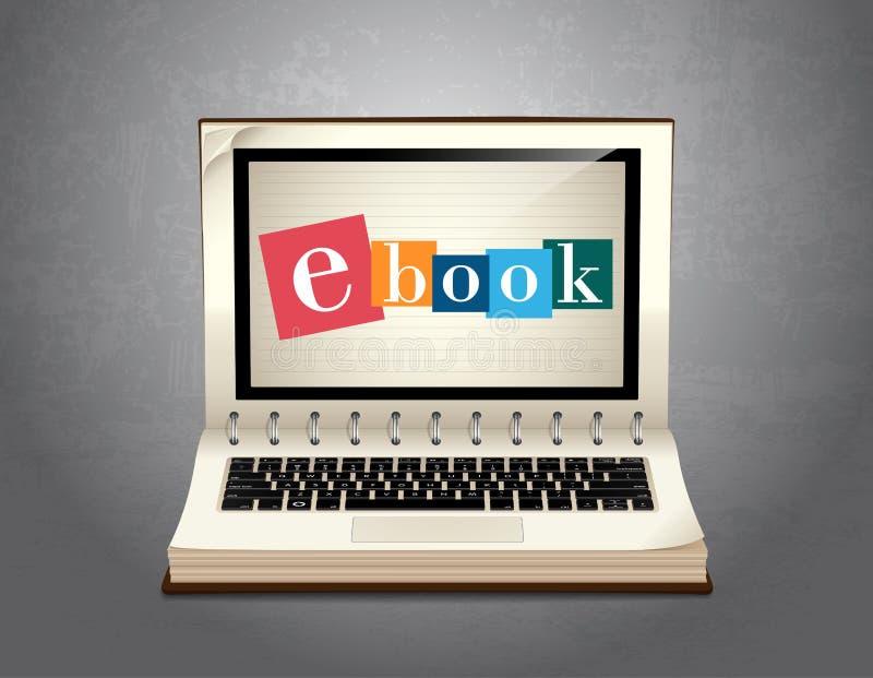 Boek van het elearning - Ebook-het leren royalty-vrije illustratie