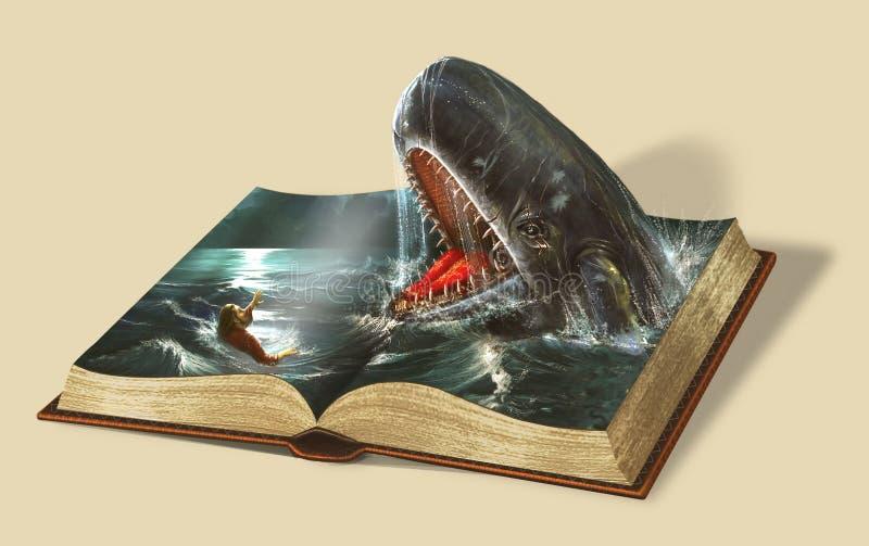 Boek van Jonas De verhalen van de bijbel stock foto
