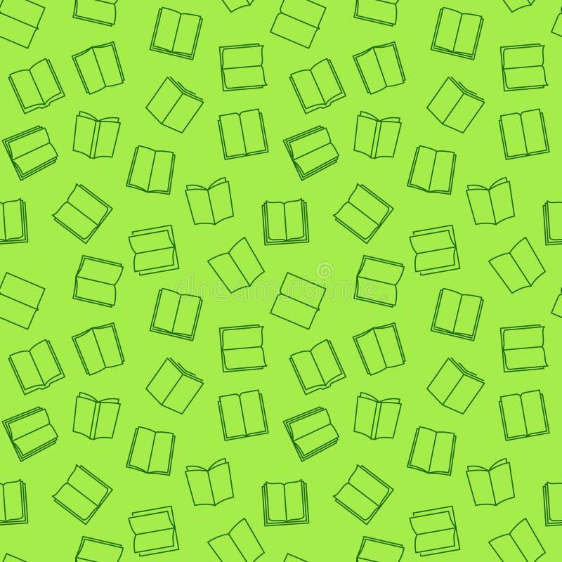 Boek vector groen naadloos patroon in dunne lijnstijl vector illustratie