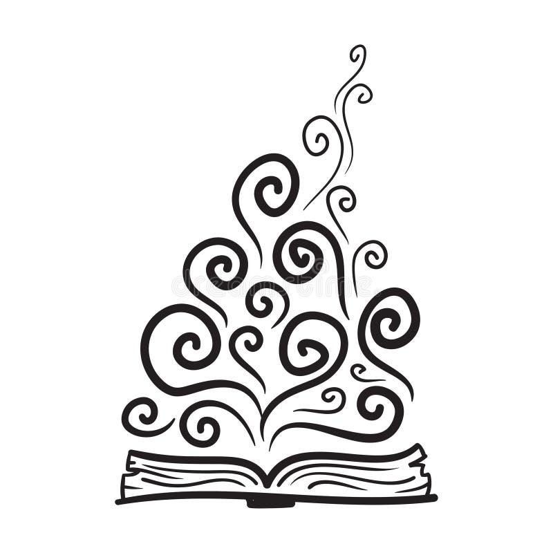 Boek, verbeelding, kennis Vector hand getrokken illustratie stock illustratie