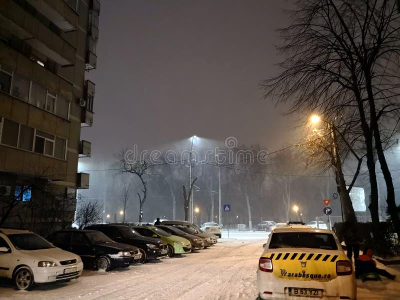 Boekarest onder sneeuw in februari royalty-vrije stock afbeelding