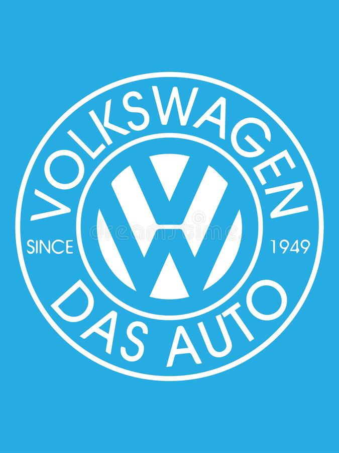 BOEKAREST, ROEMENIË 2 JULI, 2019: Vectordieontwerp van Volkswagen-embleem op lichtblauwe achtergrond wordt geplaatst Volkswagen i vector illustratie
