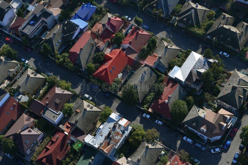 Boekarest, Roemenië, 9 Oktober, 2016: Luchtmening van huizen in Boekarest stock foto's