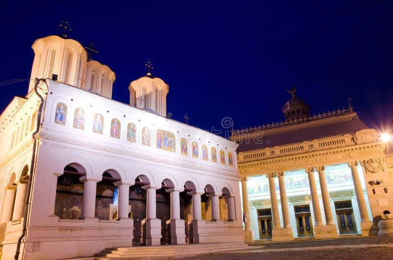 Boekarest 's nachts - Patriarchale Kathedraal stock foto