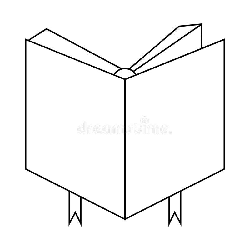 Boekdekking met referentiepictogram, overzichtsstijl stock illustratie