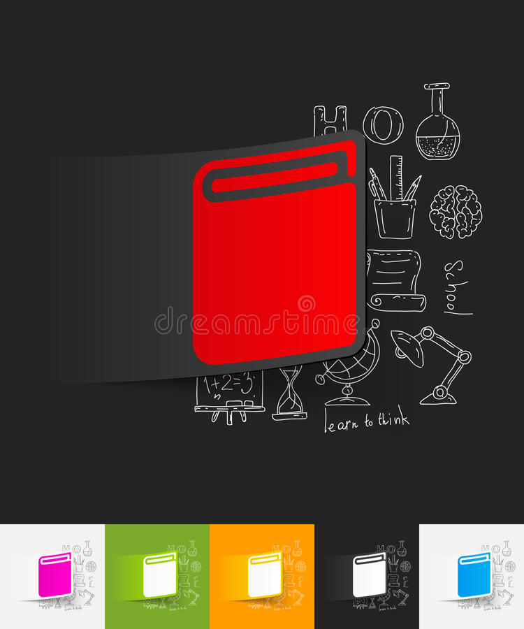 Boekdocument sticker met hand getrokken elementen vector illustratie