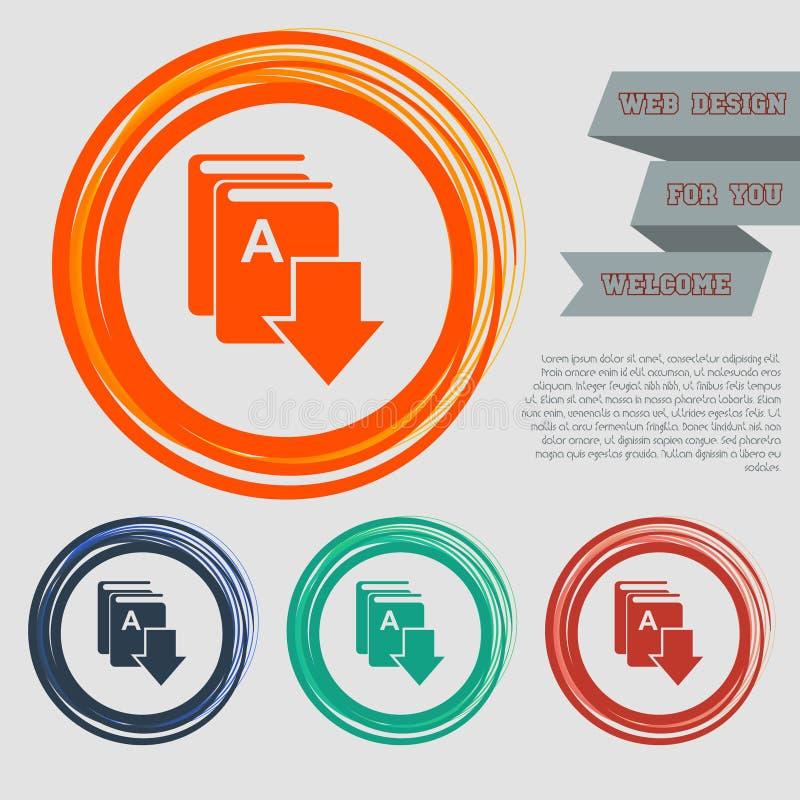 Boekdownload, e-pictogram op de rode, blauwe, groene, oranje knopen voor uw website en ontwerp met ruimteteksten vector illustratie